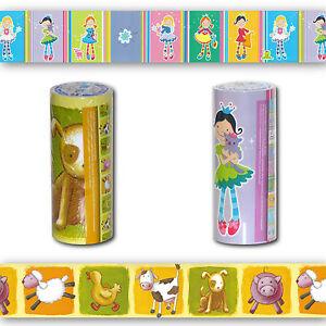 Details zu Bordüre SELBSTKLEBEND, Kinder Tapete Borte für Kinderzimmer,  Borde, rosa, grün