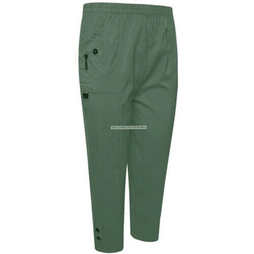 Ladies Cropped Trousers Women Three Quarter Soft Trendy Button Detail Capri Pant