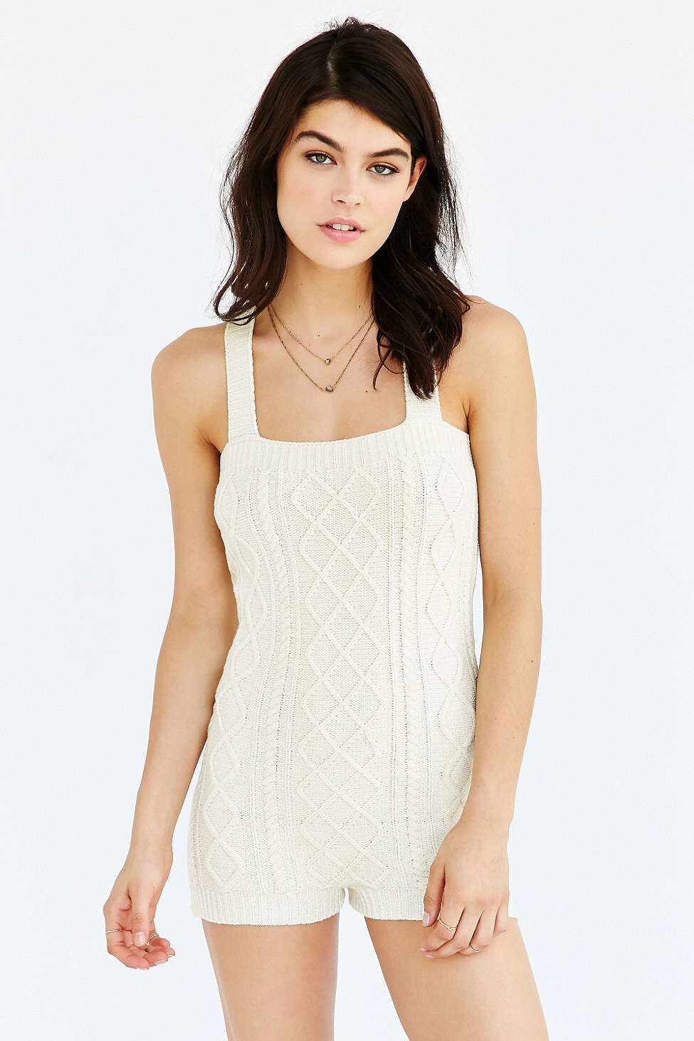 NEW KNITTY KITTY CABLE KNIT IVORY ROMPER XS