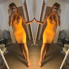 EX Pretty Little Thing Bright Yellow Strappy Choker Harness Bodycon Mini Dress