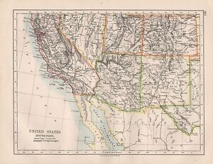 Us Map 1920.1920 Vintage Map United States South West Ebay