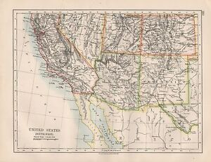 Details about 1920 VINTAGE MAP- UNITED STATES, SOUTH WEST