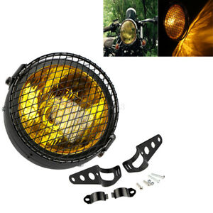 Moto-LED-Lampe-phare-Beam-Hi-Lo-Feux-avant-Supports-Feu-Phare-amp-Grill-Pour-Harley