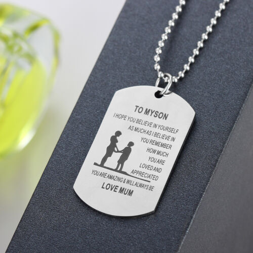 Dog Tag Mother Father Daughter Son Teacher Necklace Best Friend Gifts Family BFF