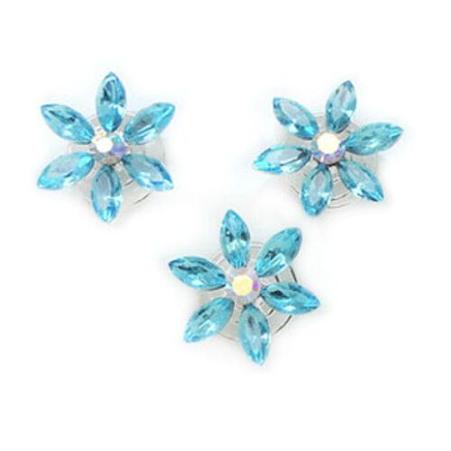 12er Set Hellblau-//Weiß-Kristallfarbene Blumen Haarnadel Blüten-Spirale 20mm