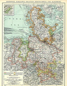 Alte Landkarte 1902 Hannover Schleswig Holstein Baunschweig