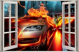 Huge-3D-Window-view-Fantasy-Sports-Car-City-Wall-Sticker-Decal-Wallpaper-669