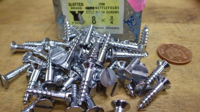 "25 x NETTLEFOLDS 3/4"" x 8 CHROME ON BRASS COUNTERSUNK SLOTTED WOODSCREW screws"