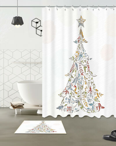 Retro Christmas Tree 100/% Polyester Bathroom Shower Curtain Decor Bath Mat Rug