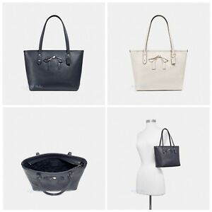 New-Coach-F28988-Mini-City-Zip-Tote-With-Bow-Pebble-Leather