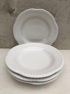 Pottery-Barn-Emma-Off-White-Salad-Plates-Set-of-4-Scalloped-Beaded-8-75-034