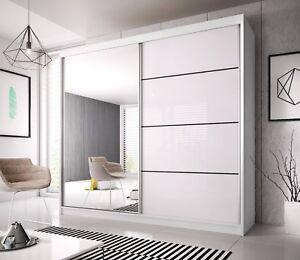 Brand New Modern Bedroom Sliding Door Wardrobe 6ft 183cm White Mirror F35 Ebay
