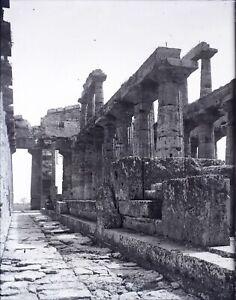 ITALIE-Paestum-Temple-Grec-c1900-NEGATIF-Photo-Stereo-Plaque-Verre-VR10L5n14