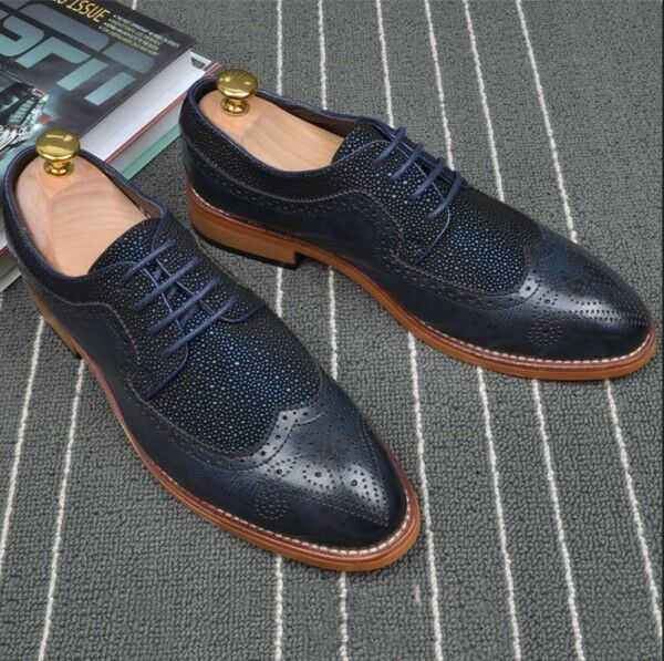Men's oxford brogue wing tip carving lace up casual shoes dress formal costume