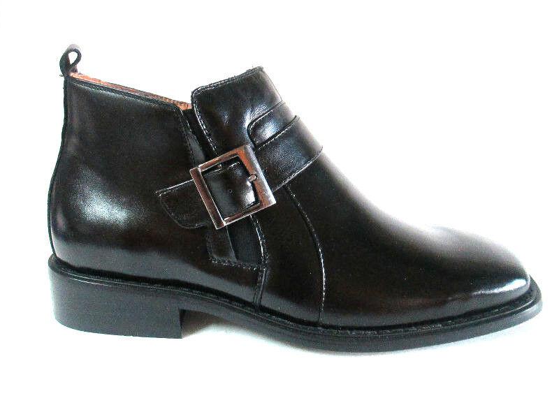La Milano Premium Grain Leather Oil-Rub Black Ankle Boot*side Zipper+Buckle