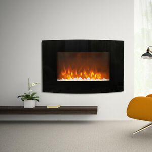 35INCH WIDE LED FLAMES CURVED GLASS TRUFLAME WALL MOUNTED ELECTRIC FIRE +PEBBLES