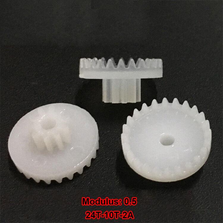 2PCS 15-36 Teeth 1.95mm-2.45 Hole 0.5 Modulus Motor Shaft Plastic Reduction Gear