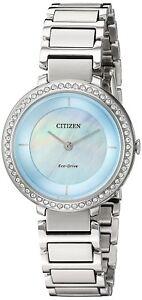 Citizen-Eco-Drive-Women-039-s-EM0480-52N-Crystal-MOP-Dial-Silver-Tone-30mm-Watch