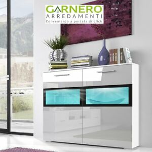 Dettagli su Credenza moderna ARMONY BIANCA mobile madia contenitore buffet  soggiorno vetrina