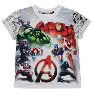 BOYS KIDS CHILDRENS MARVEL AVENGERS IRON MAN HULK CAPTIN AMERICA T-SHIRT TOP