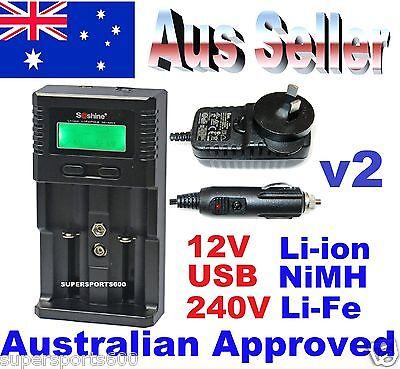 Soshine SC H2 universal LCD battery charger Li-ion NiMH  Li-FePO4 AUS standards