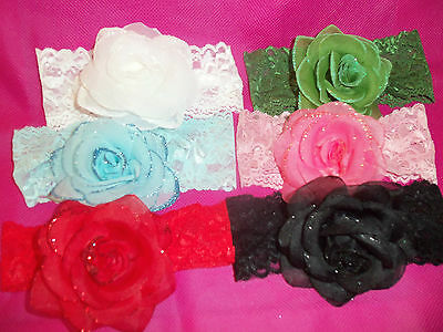 pick 1 BOUTIQUE lace BABY wide headband GLITTER rose HAIRBOW white PINK blue RED