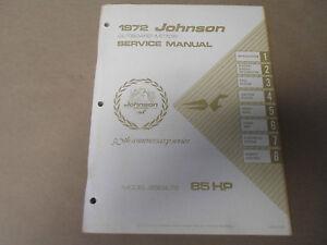 1972 Johnson Outboards Service Shop Repair Manual 85 HP 85ESL72 OEM Boat x