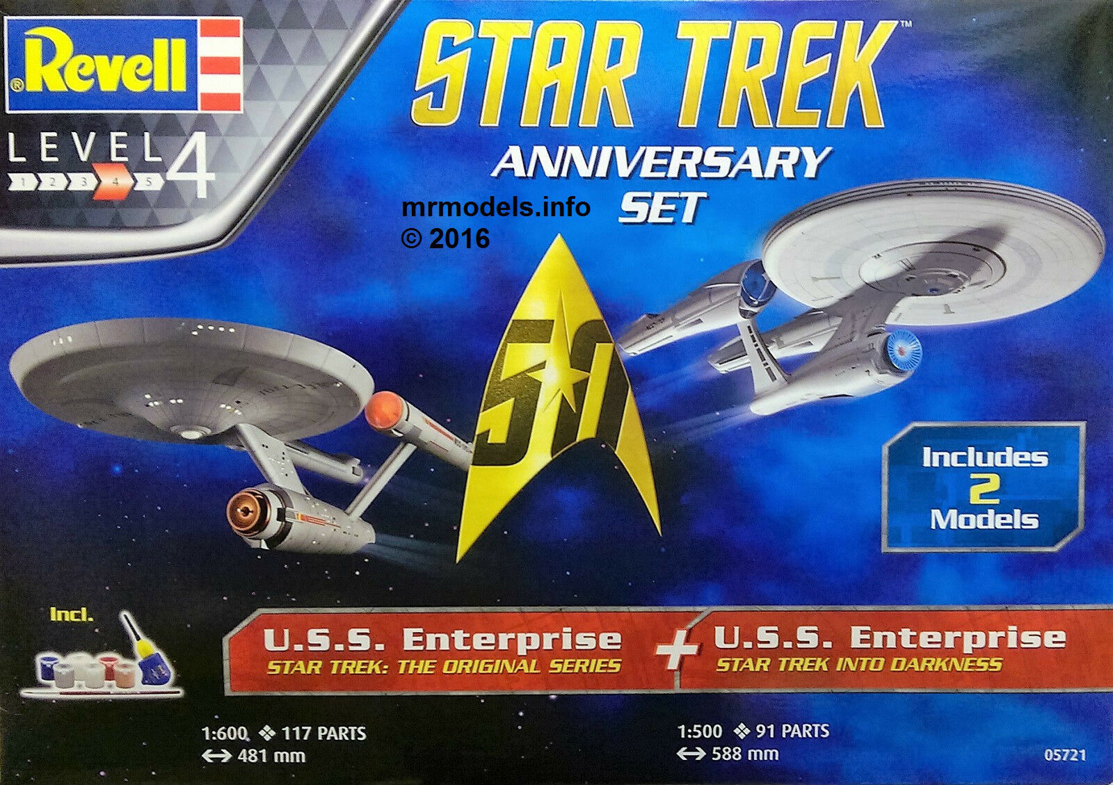 Revell 50th Anniversary Star Trek U.S.S. Enterprise Set  Plastic Model Kit 05721