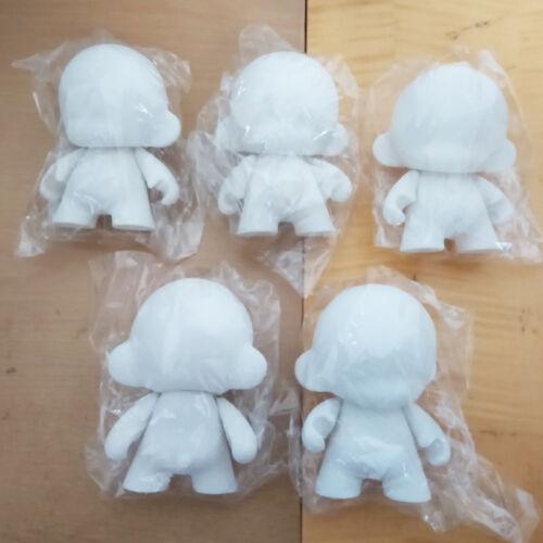 5pcs of lot 4 inch Kidrobot Munny DIY Paint Blank White Vinyl Toy In Opp Bag