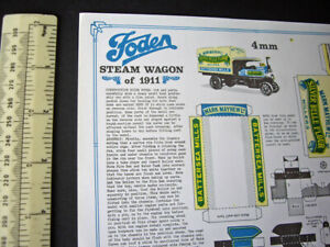 Vintage-00-H0-Scale-Foden-Steam-Wagon-1911-Cut-Out-Card-Model-Bernard-King-1974