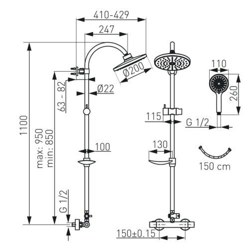 Duscharmatur mit Thermostat Duschsäule Duschpanel Duschstange