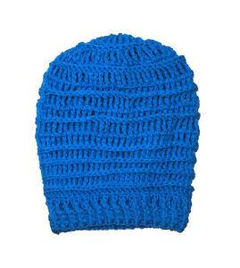 Handmade Womens Blue Crochet Beanie Extra Slouchy Hat O S Cali Love ... 022e179e8