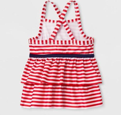 Cat /& Jack Red 5T Toddler Girls/' Adaptive Stripe Tankini Swim Top