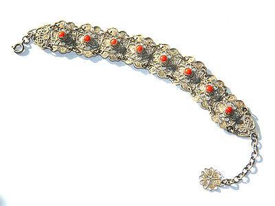 Antique SILVER FILIGREE LINK BRACELET w/ Coral Beads, Oriental ca.1900