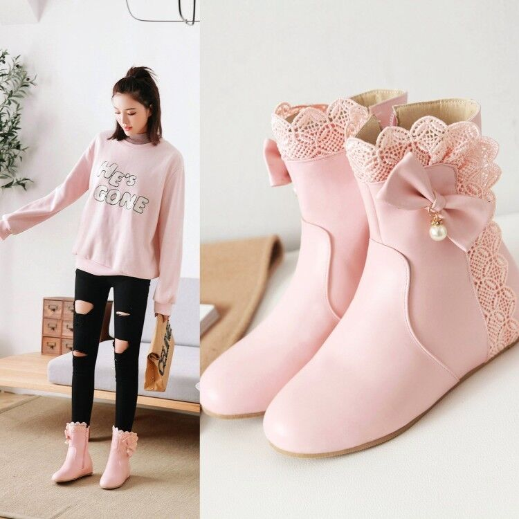 Sweet Women Round Toe Bowknot Lolita Gril Ankle Boots Hidden Low Heel shoes