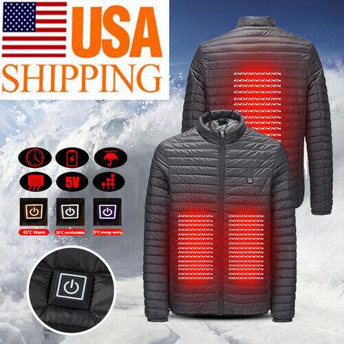 USB Hooded Men Women Electric Warmer Jacket Heated Heating Sports Outdoor Coat