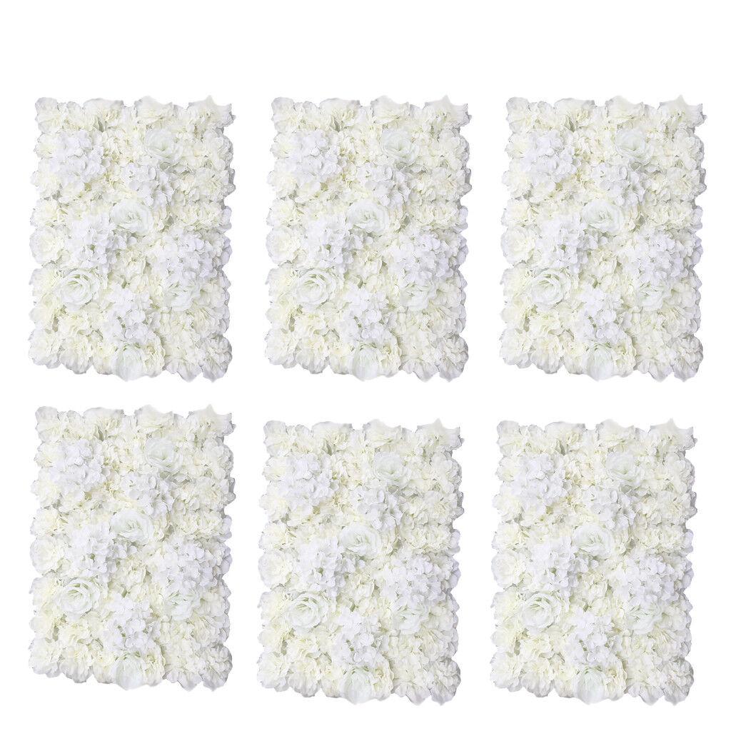 6pcs fleur artificielle Mur Panneau Home Shop Mariage Floral Décoration Crème