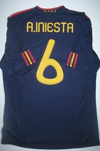 Adidas 2010 Spain World Cup Andres Iniesta Away Navy Jersey Kit ... 848381c62