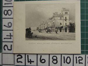 1851 Antiguo Londres Estampado ~ Queens Carretera Palacio Jardines Bayswater