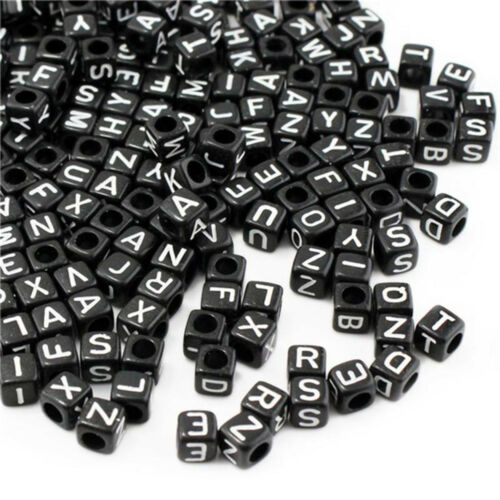 100x Funny Square Alphabet Letters Bead Beads for Bracelet Necklace Jewelry Hot