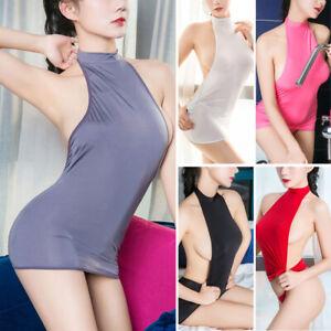 Hot-Women-039-s-Lingerie-Open-Back-Crop-Top-Micro-Skirt-Bodycon-Mini-Dress-Clubwear