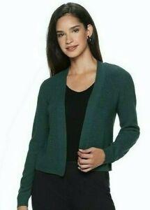 APT. 9 Women's Sz XL Shrug Cardigan Sweater Open Front Long Sleeve Dark Green