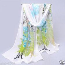 Women's Fashion Peacock Print White Soft Chiffon Thin Beach Silk Stole Scarf