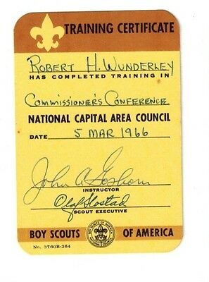 1966 Boys Scouts of America Training Certificate card - Commisioner's Conference