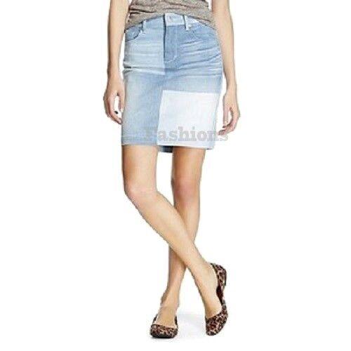 Womens Mossimo Patch Denim Jean Skirt NWOT 79L10