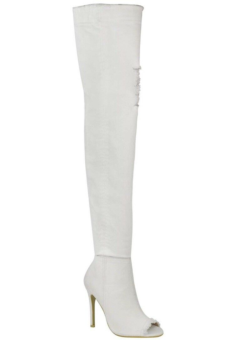 White Denim Thigh High Heels
