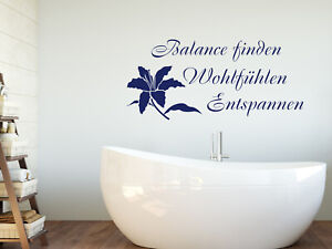 Details zu Wandtattoo Wellness mit Blume Badezimmer Aufkleber Tür Fliesen  Deko Sprüche WC