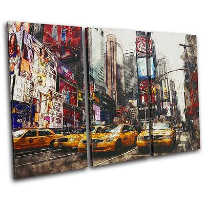 Times Square Grunge New York City TREBLE CANVAS WALL ART Picture Print VA