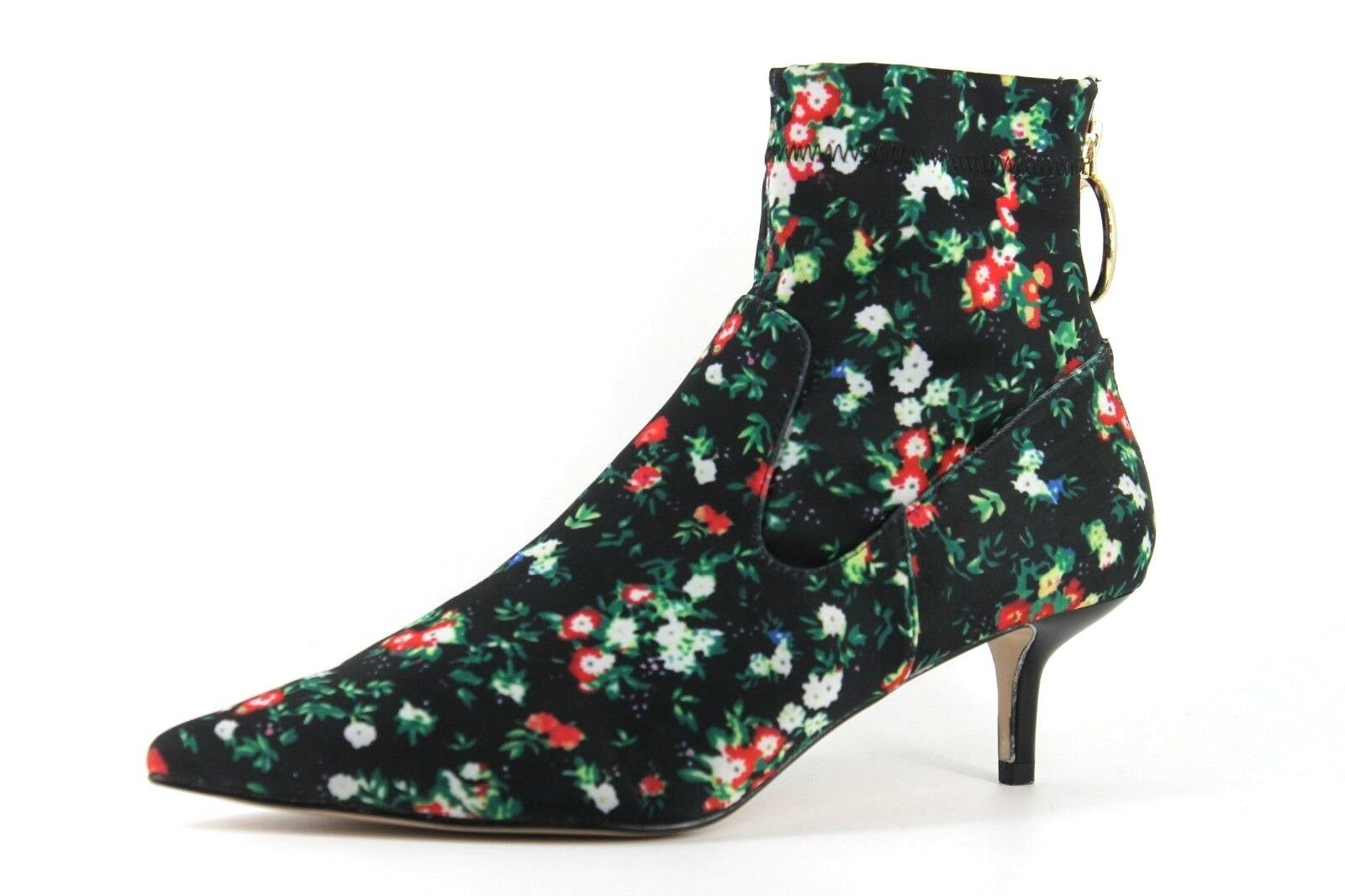 H&M Womens Green Floral Kitten Heel Pointed Toe Zip Up Ankle Boots