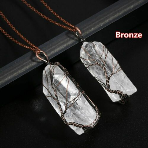 Mens Natural Stone Necklace Clear Gemstone Long Chain Choker Wire Wrap Pendant